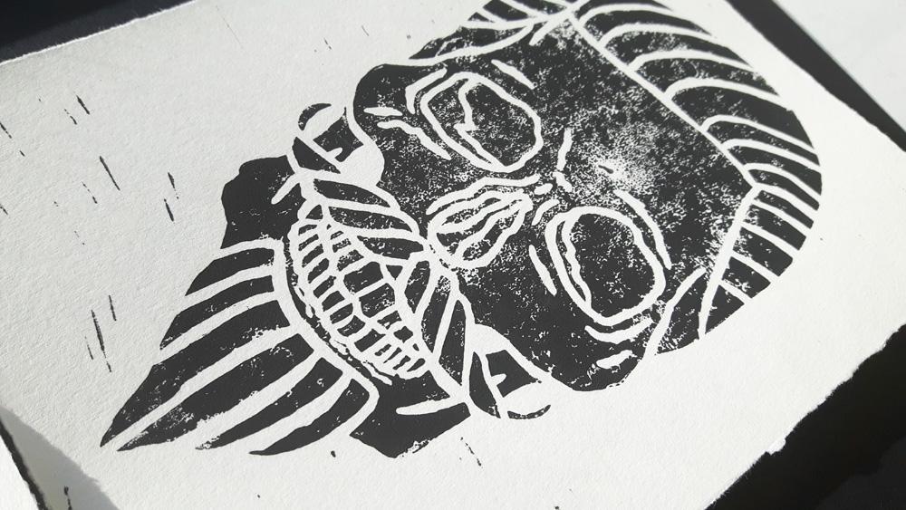 Aidan Smeaton - Lino Printed Skull